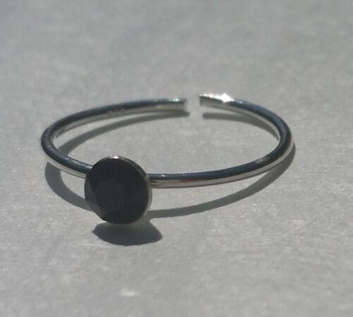 Sterling Silver 925 Toe Ring Black Crystal Adjustable