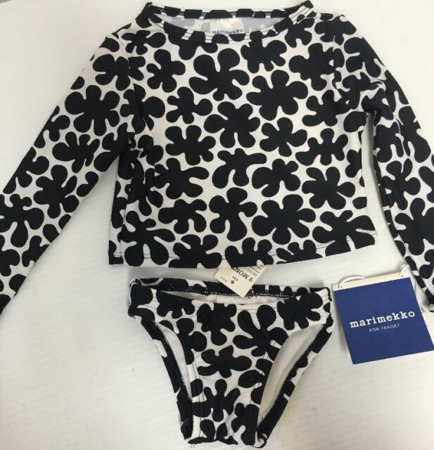 8c0bd6c41b3 NEW Marimekko Target Toddler Girl Print Rash Guard 2 Pc Swimsuit Sz 9 Mo B&W