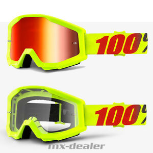 100-Occhiali-Strata-Mercury-FLUO-GIALLO-MOTOCROSS-ENDURO-DOWNHILL-CROSS