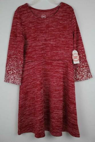 NEW Girls Knit Hacci Dress Large 10-12 Maroon Silver Long Sleeve Stretch