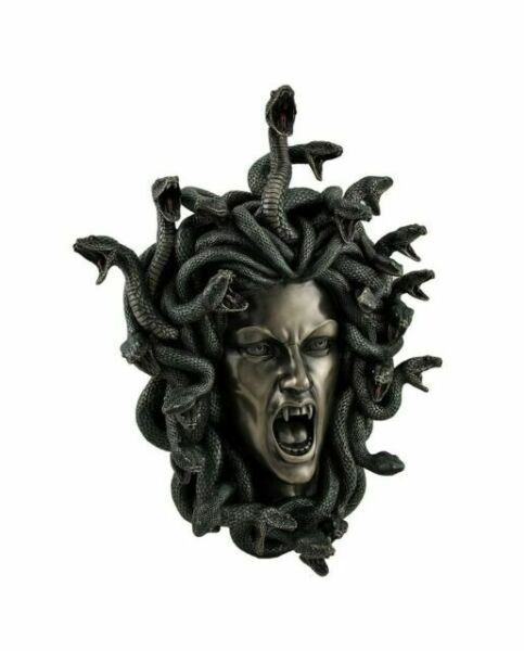 Medusa Guardian Head Wall Plaque Sculpture Cold Cast Bronze Gift Home Decor Ornament Snakes H24cm Fiesta Studios