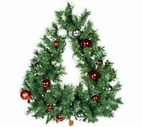 Bethlehem Lights Tree Shaped Wreath With Ornaments Red/silver
