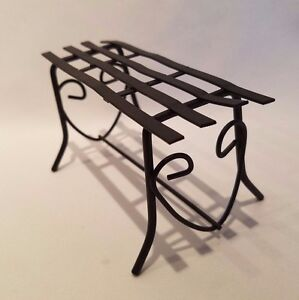 Remarkable Details About Dollhouse Miniature Black Metal Wrought Iron Outdoor Patio Bench Fairy Garden Evergreenethics Interior Chair Design Evergreenethicsorg