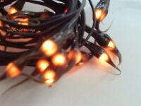 20 Silicone Teeny Rice String Lights Brown Tip Grungy Bulbs Brown Wire Primitive