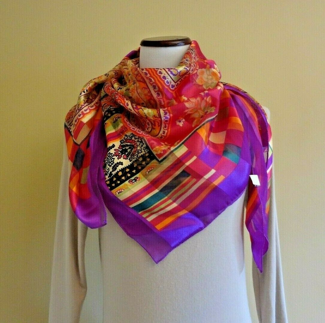 VTG NWOT Polyester Paisley Stripped Plaid Pattern Multi Colored Square Scarf 40
