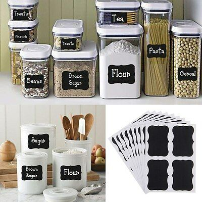 32Pcs DIY Blackboard Stickers Craft Kitchen Jar Jam Label Tags Decor