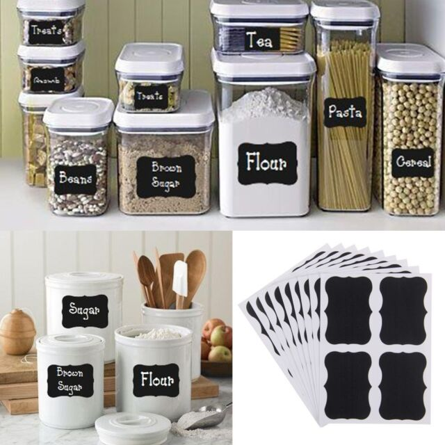 32 x Blackboard Stickers Contact Paper Craft Kitchen Jar Jam Tags Decoration New