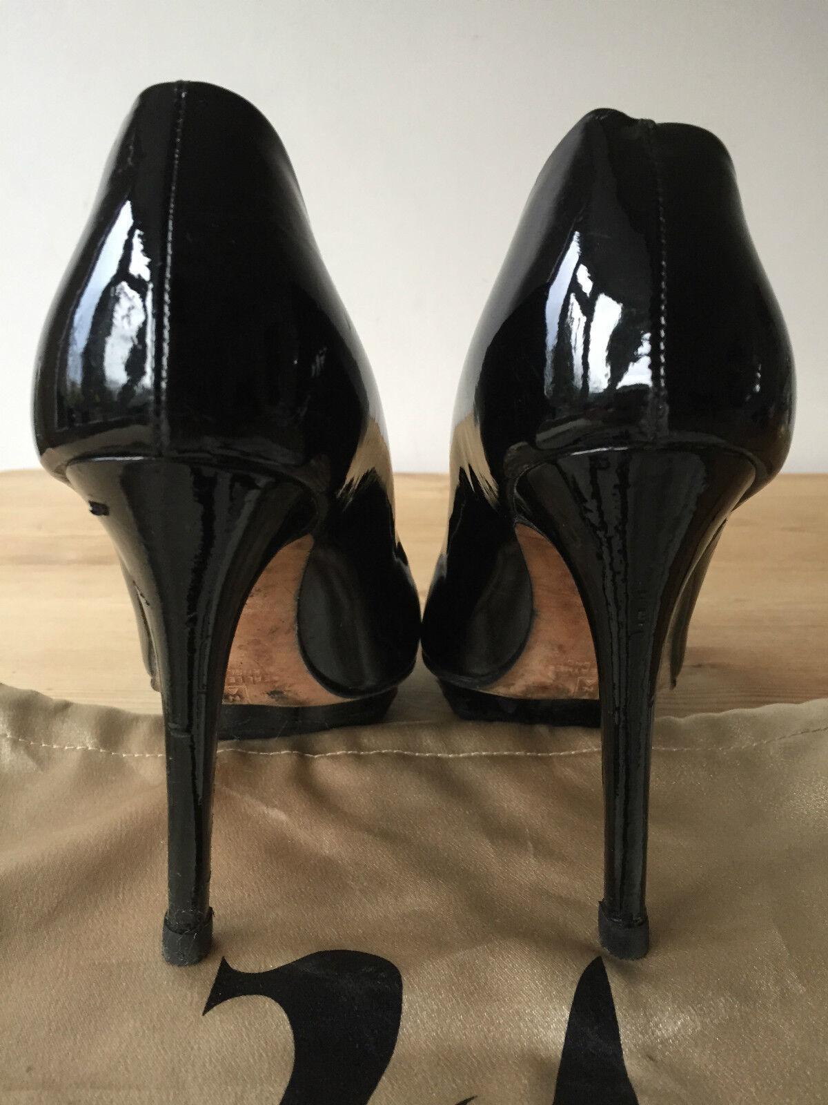 GINA LADIES BLACK PATENT LEATHER PEEP HIGH TOE HIGH PEEP HEELS UK4 EUR37 79fefc