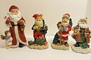 4 Santa Figurines K's Collection Resin Material Felt Base