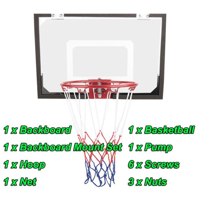 Basketball Hoop Backboard Ball Rim Goal Net Set Wall Mount Indoor Outdoor  System 1d67e8f5ba2b