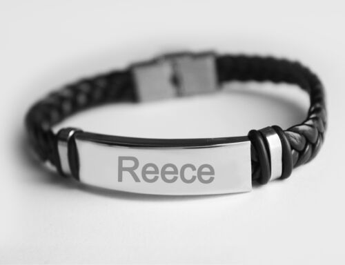 REECE Name Bracelet - Personalized Mens Leather Bracelet - Silver Father's Day
