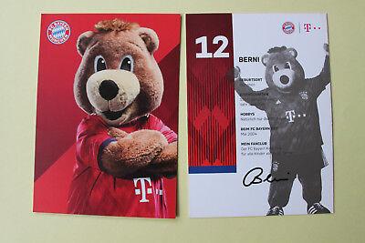 Berni Maskottchen Manuel Neuer Autogrammkarte FC Bayern München Autogrammkarten.