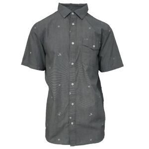 Vans-Off-The-Wall-Men-039-s-Heather-Grey-Cross-Hatch-B-S-S-Woven-Shirt-Retail-42