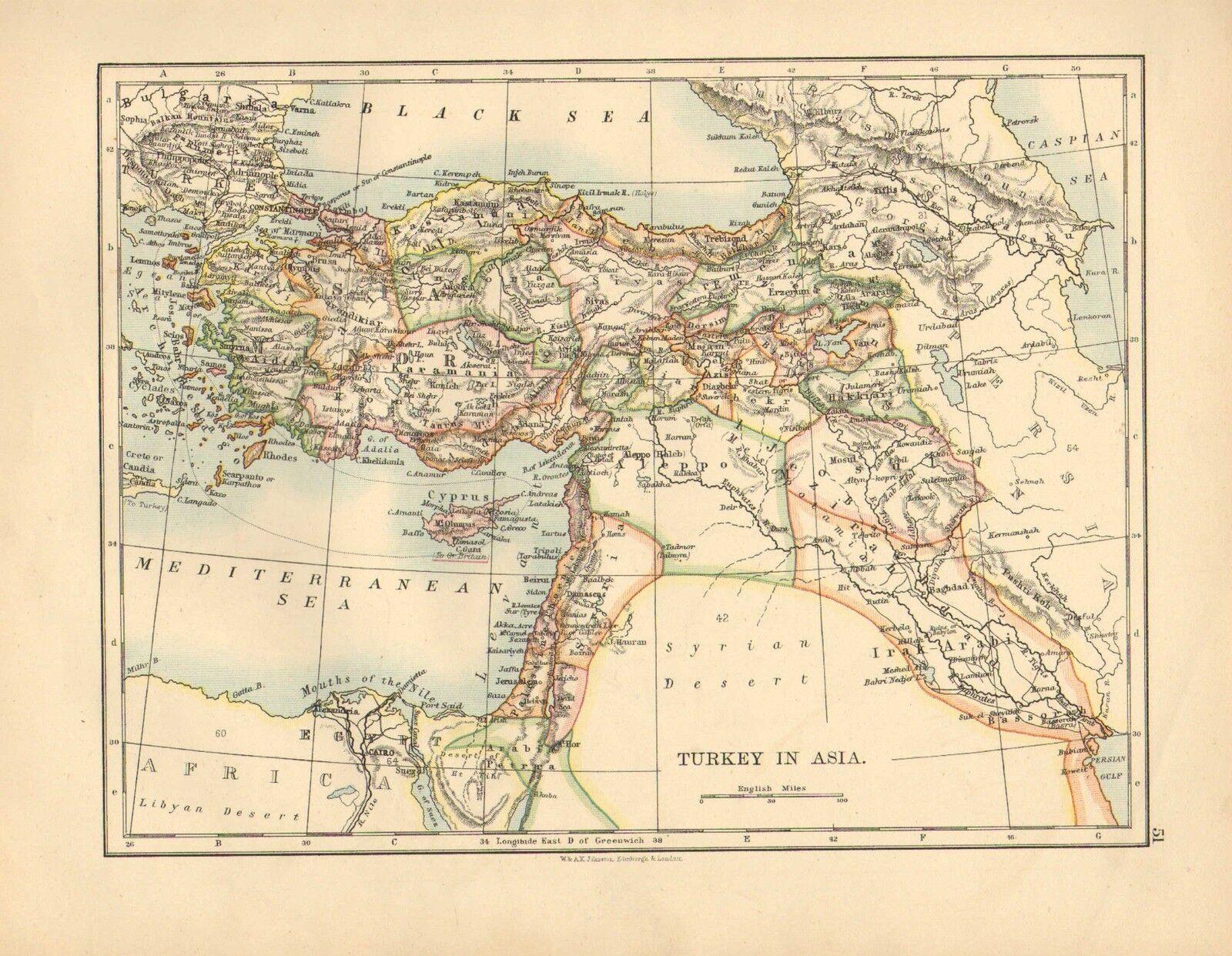 1892 Victorien Carte  Turquie en Asie  Chypre Asie Mineur Irak-Arabi