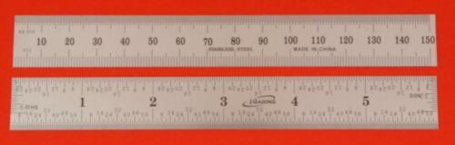 "64th/"" /& 0.5mm-1mm SAE /& metric 6N iGaging SAE ruler//rule  stainless steel 8ths"