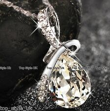 Clear Diamond Necklace Pendant Pear Drop Jewellery Gift for her Girl wife lady