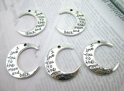 "5PCS ""I Love You To the moon and back"" Moon Charms Beads Pendant Jewelry Finding"