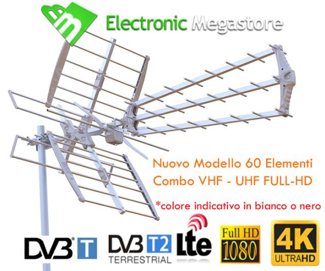 POTENTE ANTENNA TV HD COMBO UHF VHF Insieme 22 dB Digitale terrestre