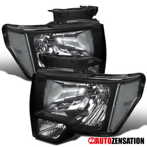For-2009-2014-Ford-F150-Black-Lens-Headlights-Head-Lamps-Left-Right-Pair