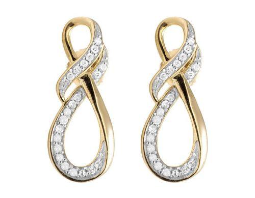 Ladies 10K Yellow Gold Genuine Diamond Infinity Ribbon Dangle Earring .25 ct