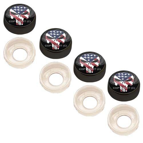 4 Black Custom License Plate Frame Screw Snap Caps Covers USA P Skull Blk