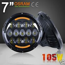 2pcs 7'' 105W Round LED Headlight Light Lamp DRL Halo Angel Jeep Wrangler Harley