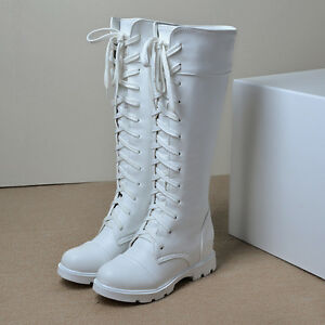 06bf6846a4f Womens Lace Up Wedge Heel Winter Fashion Riding Knee High Boots ...