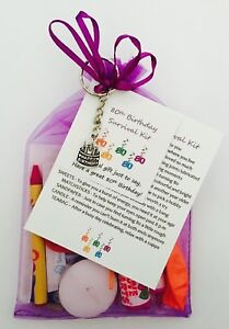 Image Is Loading Female 80th Birthday Survival Gift Kit With Keyring
