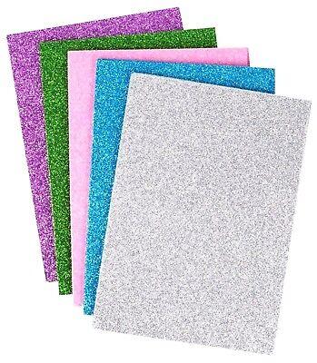 1x 10 GLITTER FOAM SHEETS A5 Blue Green Pink Purple Silver Girls Boys Craft