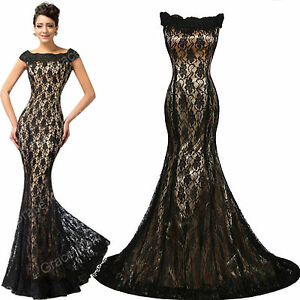 New Formal Mermaid Long Dresses Evening Cocktail Party Prom Lace Ball Gown Dress