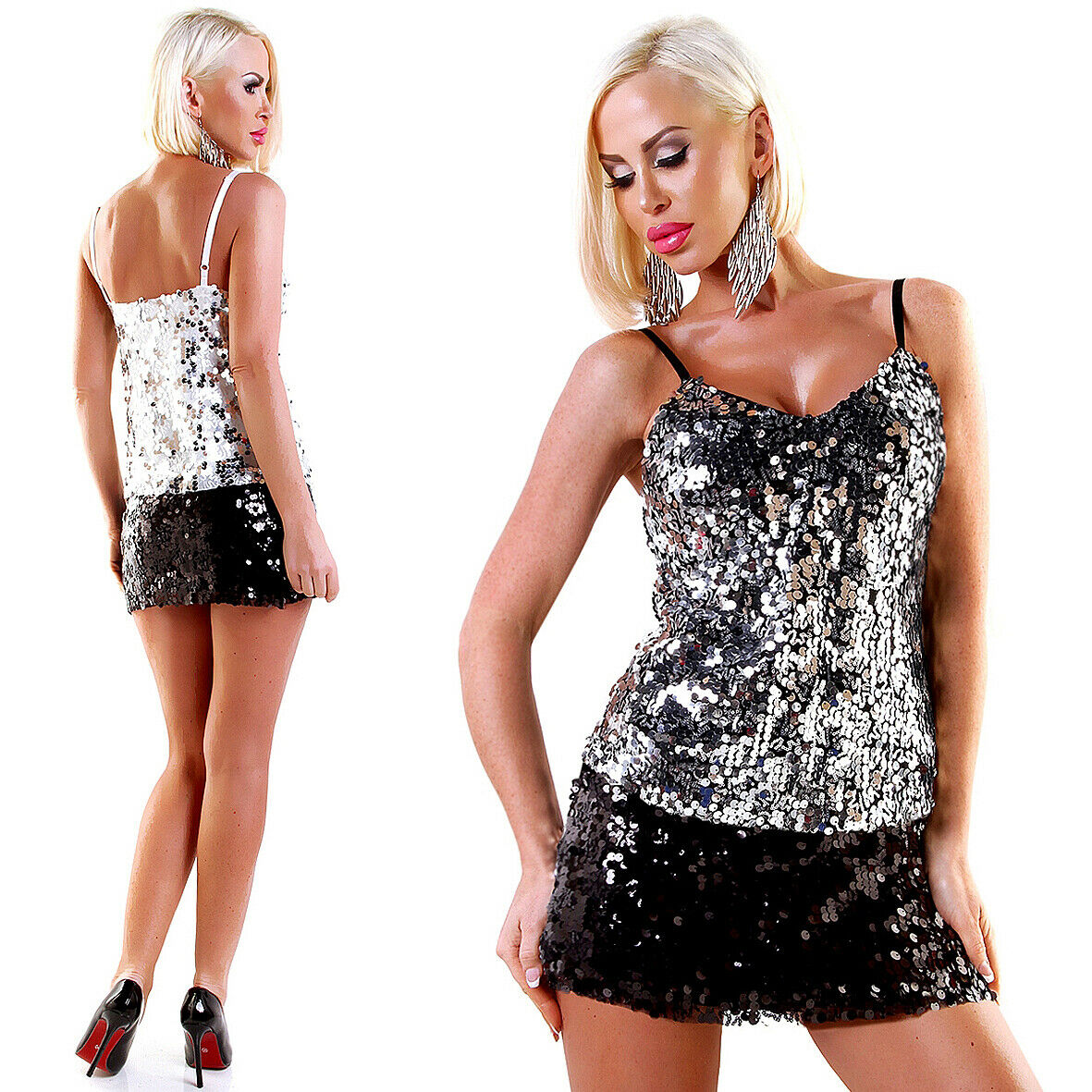 Glamouröses Damen Pailletten Cocktail Party-Outfit - Kombi Trägertop + Minirock