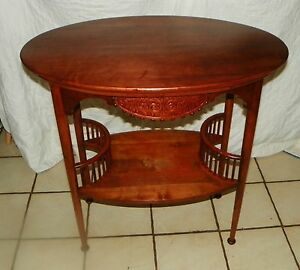 Solid cherry carved oval end table parlor table rp t181 ebay