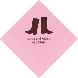 100 Western Boots Cowboy Theme Personalized Wedding Luncheon Napkins