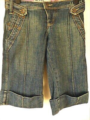 'mngjeans's Denim Effetto Invecchiato Stretch Lunga Pantaloni Corti 99% Cotone 1% Elastan 32w-