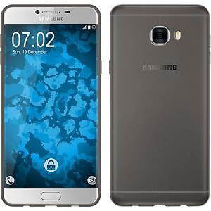 Coque-en-Silicone-Samsung-Galaxy-C7-Slimcase-gris-films-de-protection