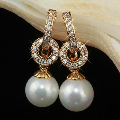 Aretes perlas circonita 585 oro 14 quilates dorado o1642-3l