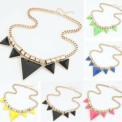 Fashion Women Lady Alloy Chain Accessory Triangle Pendant Necklace Chunky Gift