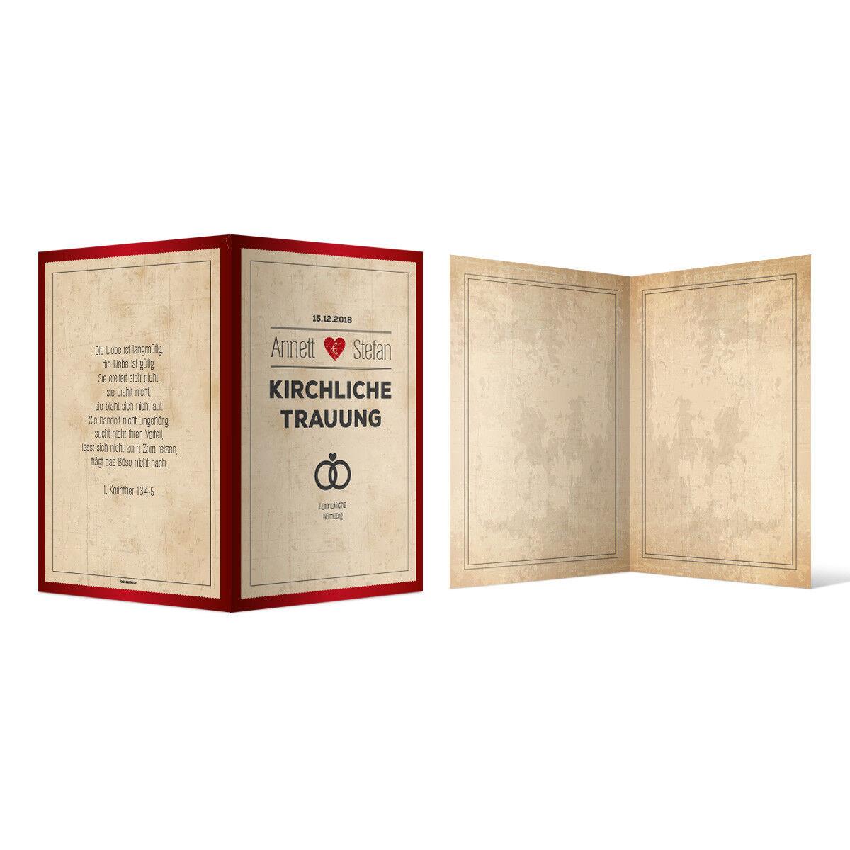 Kirchenheft Hochzeit individuell Klappkarte - Retro Vintage Herz in Rot