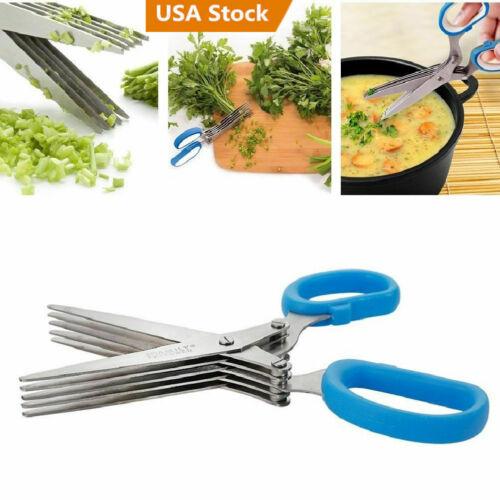 5 Blades Scissors Shear Spices Pasta Office Shredding Paper Slice For Kitchen US