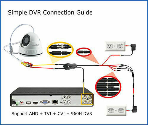 6X Analog CCTV Dome Camera 1080P 4in1 TVI//AHD//CVI//CVBS Wide Angle Night Vision