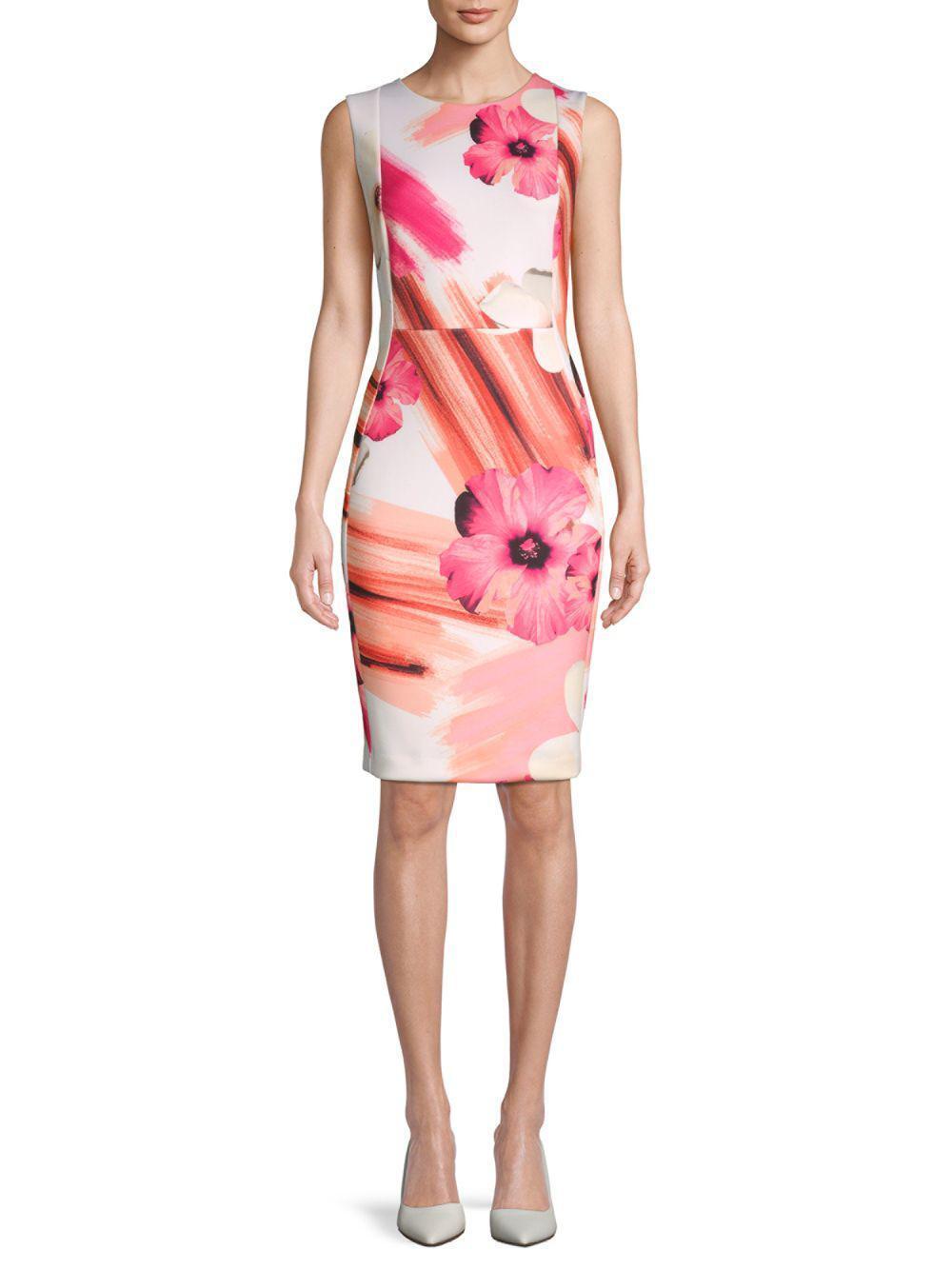 eacda13d Calvin Klein Floral-print Scuba Sheath Dress Size-10 10 for sale ...