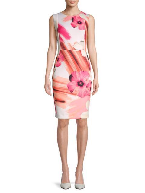5d5837f274e7 Calvin Klein Floral-print Scuba Sheath Dress Size-10 10 for sale ...