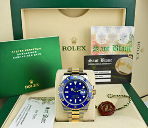 ROLEX-18kt-Gold-amp-SS-SUBMARINER-Blue-With-Card-Smurf-116613-SANT-BLANC