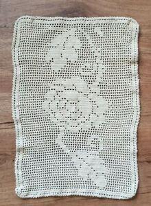 Vintage-Ecru-Rose-Flower-Filegree-Doily-Centerpiece-16-25x11-25-Hand-Crocheted