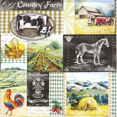 Decoupage 4x Paper Napkins for Party Old Country Farm