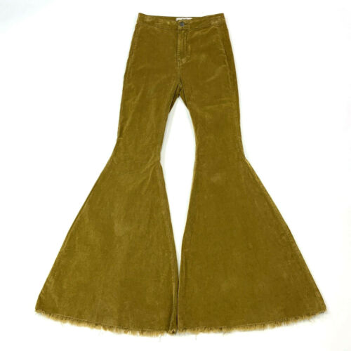 Free People Float On Cord Flare Pant Size 26 Olive