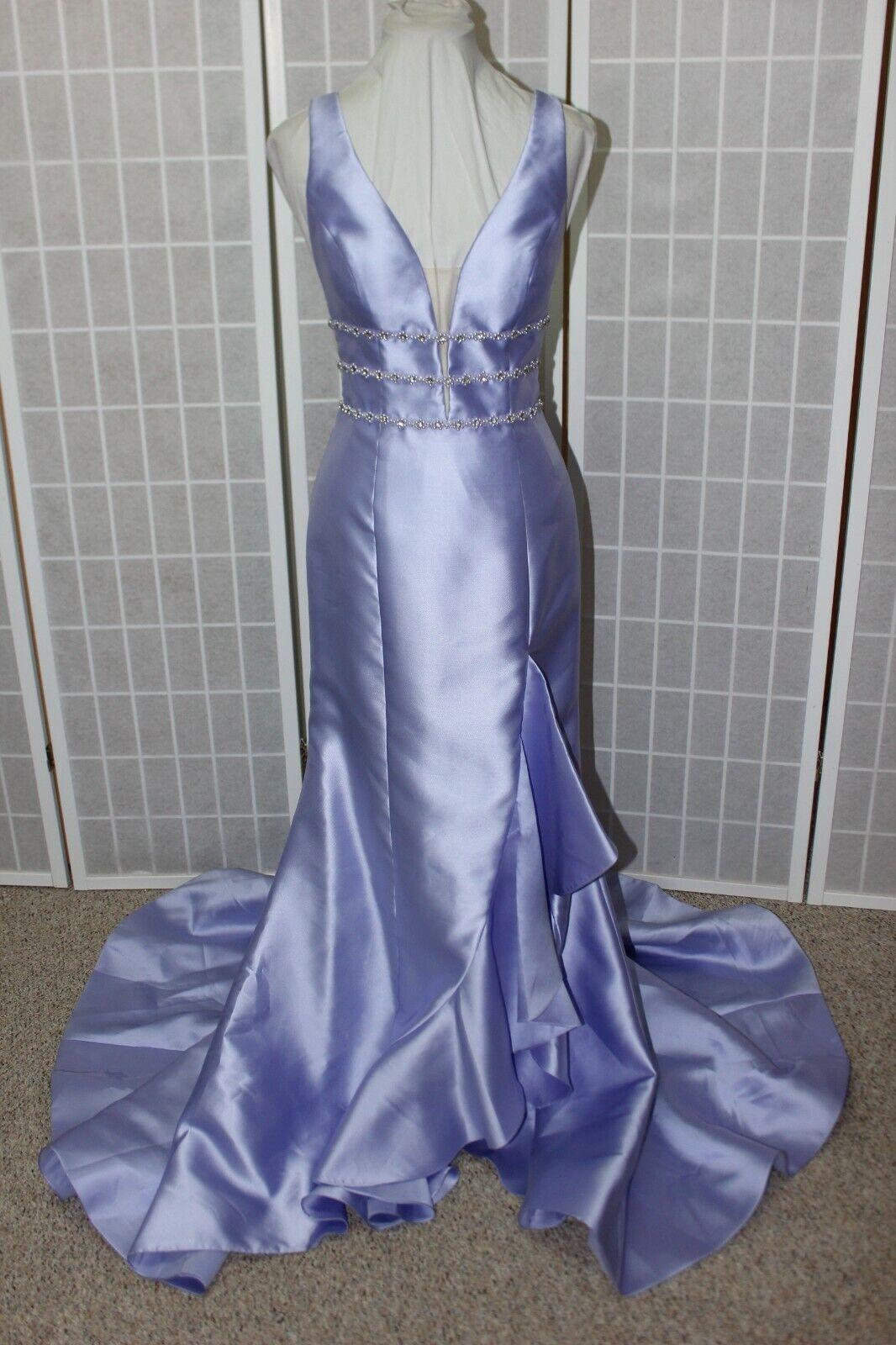 NWT Sherri Hill 52576 Lilac size 8 Mikado pearl & rhinestone accented formal