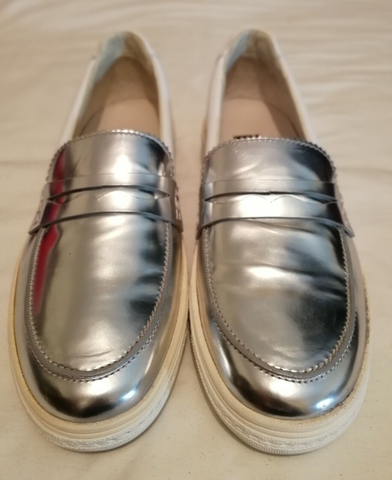No 21 Leather Penny Loafer Sneakers shoes White Size uk 7 eu 40