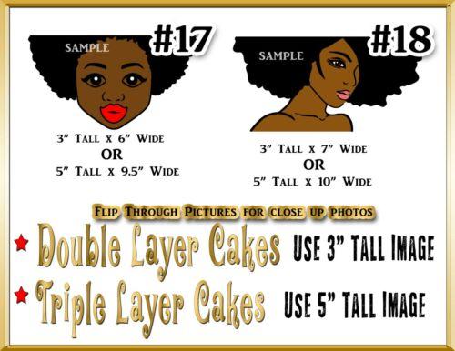 Afro Diva Birthday edible Cake topper Edible paper sugar sheet black woman face
