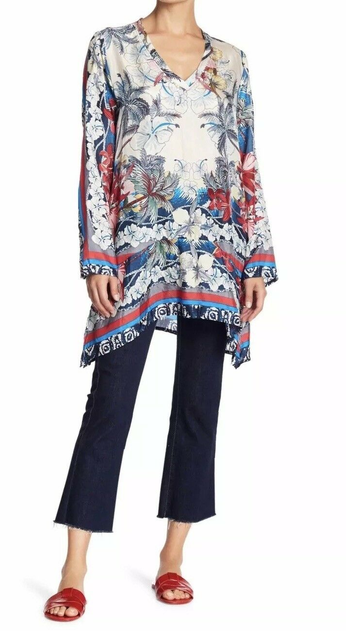NWT Johnny Was Vacation Silk Printed Tunic Top Blouse S